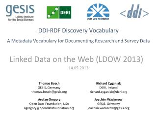 DDI-RDF  Discovery  Vocabulary A  Metadata Vocabulary for Documenting Research and Survey Data