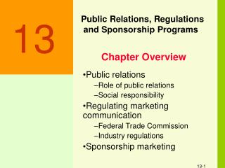 Public Relations, Regulations  and Sponsorship Programs