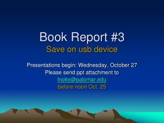 Book Report #3 Save on usb device