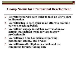 Group Norms for Professional Development