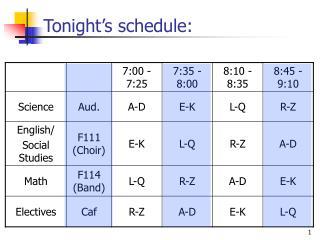 Tonight's schedule: