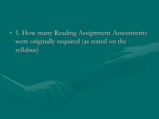 1. How many Reading Assignment Assessments were originally required (as stated on the syllabus)