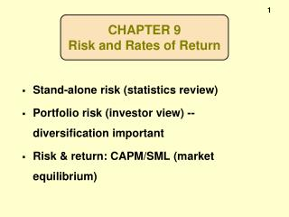 CHAPTER 9 Risk and Rates of Return