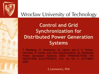 Control and Grid Synchronization for Distributed Power Generation Systems