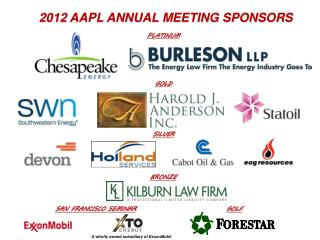 2012  AAPL Annual Meeting Sponsors