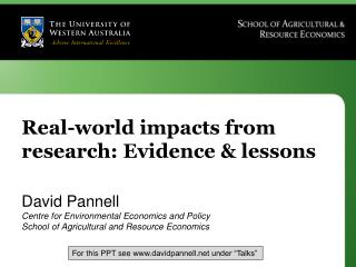 Real-world impacts from research: Evidence & lessons
