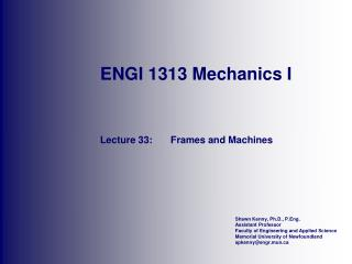 ENGI 1313 Mechanics I