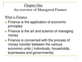 Chapter One           An overview of Managerial Finance