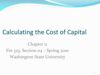 Calculating the Cost of Capital