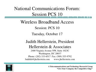 National Communications Forum: Session PCS 10
