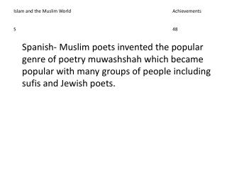 Islam and the Muslim World					Achievements S							48