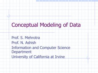 Conceptual Modeling of Data