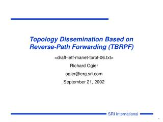 Topology Dissemination Based on  Reverse-Path Forwarding (TBRPF)