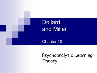 Dollard and Miller Chapter 10