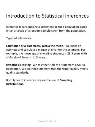 Introduction to Statistical Inferences