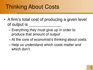 Thinking About Costs