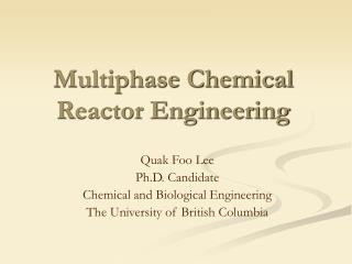 Multiphase Chemical  Reactor Engineering
