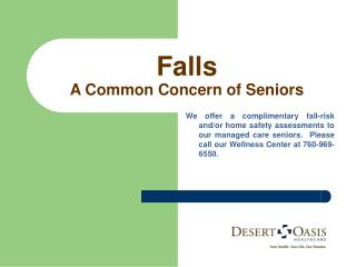 Falls A Common Concern of Seniors