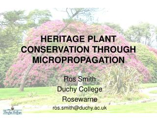 HERITAGE PLANT CONSERVATION THROUGH MICROPROPAGATION