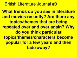 British Literature Journal #3