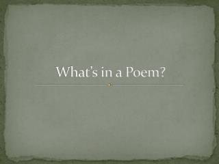 What's in a Poem?