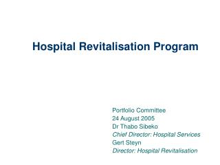 Hospital Revitalisation Program