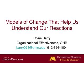 Models of Change That Help Us Understand Our Reactions