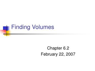 Finding Volumes