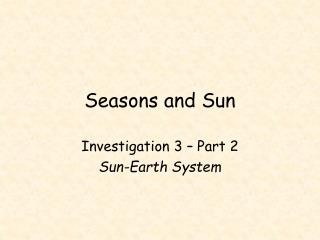 Seasons and Sun