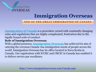 Great Immigration of Canada introduction