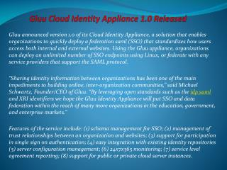 Gluu Cloud Identity Appliance 1.0 Released