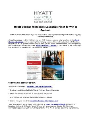 Hyatt Carmel Highlands Launches Pin it to Win it Contest