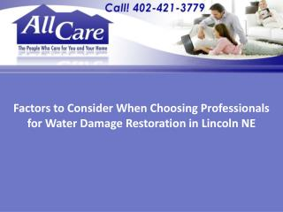 professionals for water damage restoration in Lincoln NE