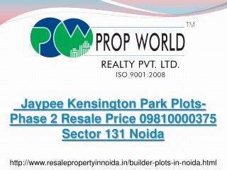 Jaypee Kensington Park Plots-Phase 2 Resale Price 0981000037