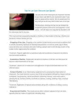 Tips for Lip Care: Because Lips Speak!