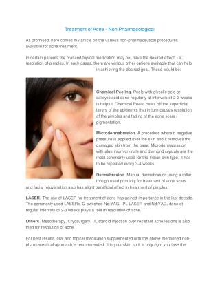 Treatment of Acne - Non Pharmacological
