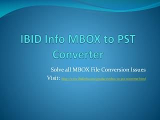 IBID Info MBOX to Outlook Converter