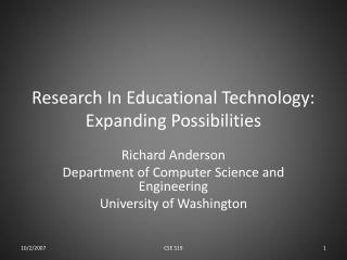 Research In Educational Technology: Expanding Possibilities