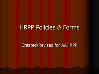 HRPP Policies & Forms