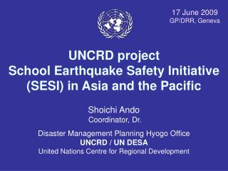 UNCRD project School Earthquake Safety Initiative (SESI) in Asia and the Pacific
