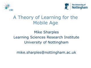 A Theory of Learning for the Mobile Age