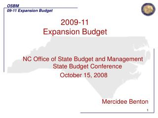 2009-11 Expansion Budget