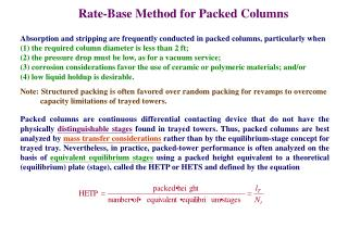 Rate-Base Method for Packed Columns