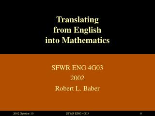 Translating from English into Mathematics