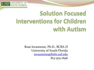 Solution Focused Interventions for Children with Autism