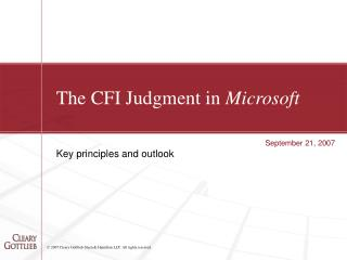 The CFI Judgment in  Microsoft