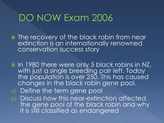 DO NOW Exam 2006
