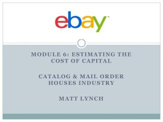 Module 6: Estimating the Cost of Capital Catalog & Mail order houses industry Matt Lynch