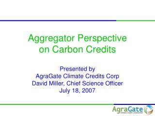 Aggregator Perspective on Carbon Credits