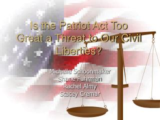 Is the Patriot Act Too Great a Threat to Our Civil Liberties?
